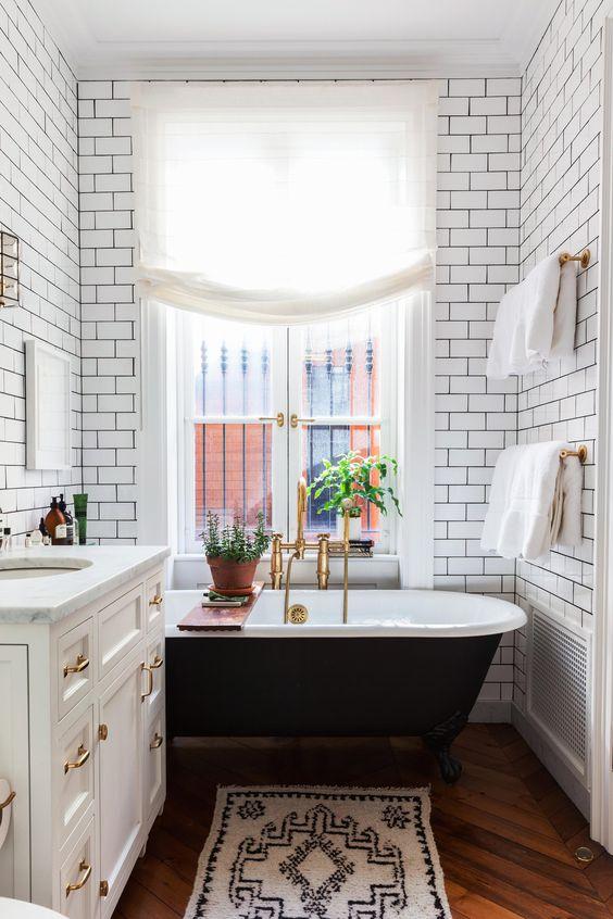 Art Deco Bathroom with Claw Foot Tub