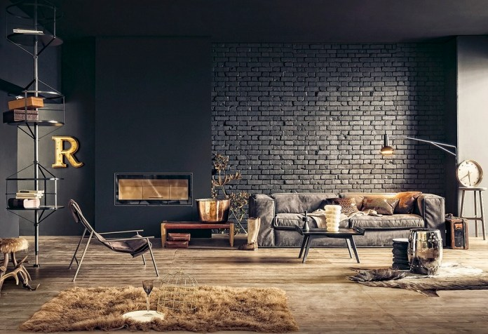 Industrial Chic bachelor Pad Living Room