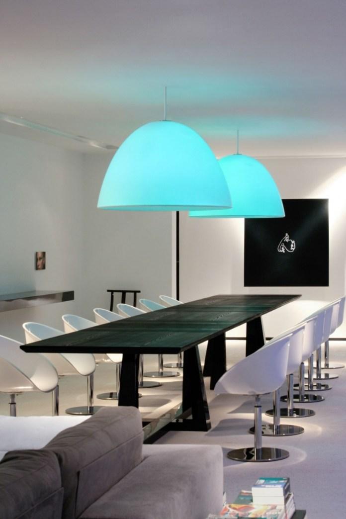 Inspiring Modern Dining Room Design With Large Blue Lights