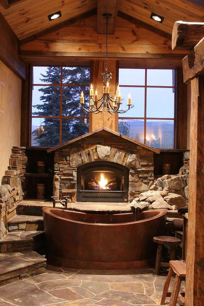 Rustic Cabin Style Bathroom with Copper Bathtub