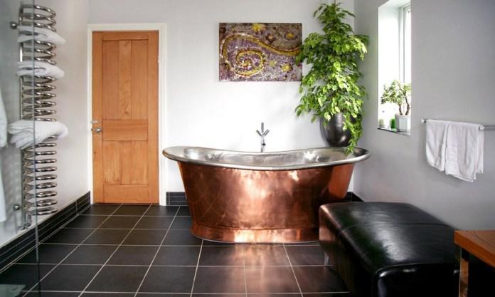Contemporary-Bathroom-with-Vintage-copper-bathtub