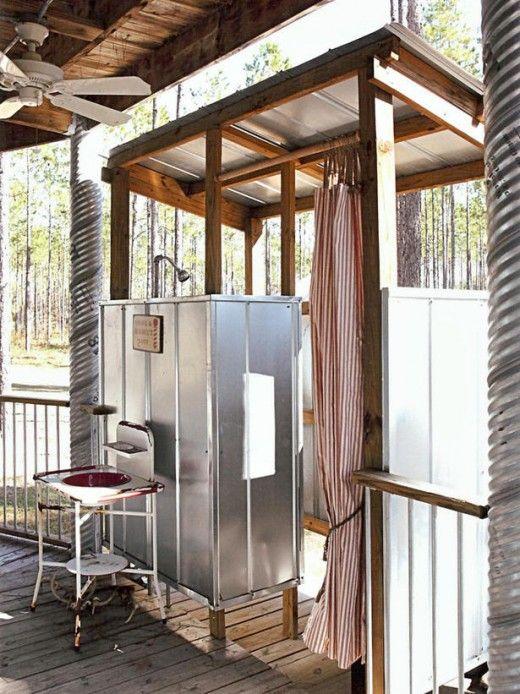 Marvelous metal outdoor shower
