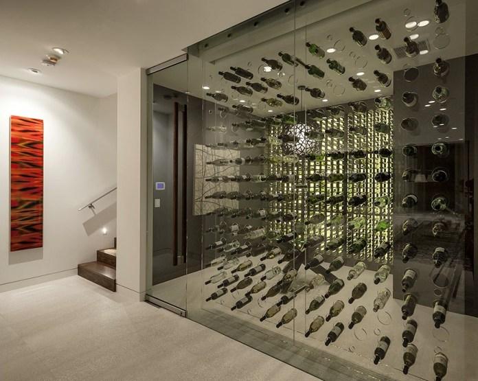 Modern glass wine cellar design