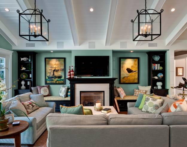 Modern living room design with TV and fireplace