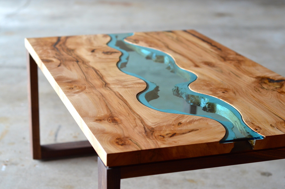 Molted Glass & Wood Coffee Table