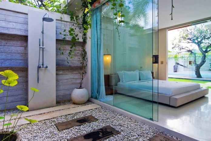 Resort style courtyard shower