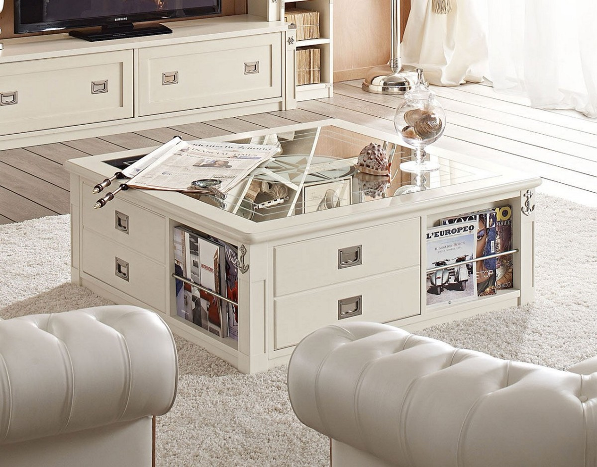 White Coffee Table With Storage & Tufted Sectional Sofa