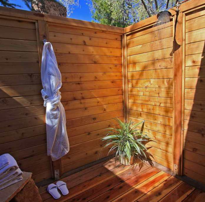 Wooden Outdoor Shower Enclosure