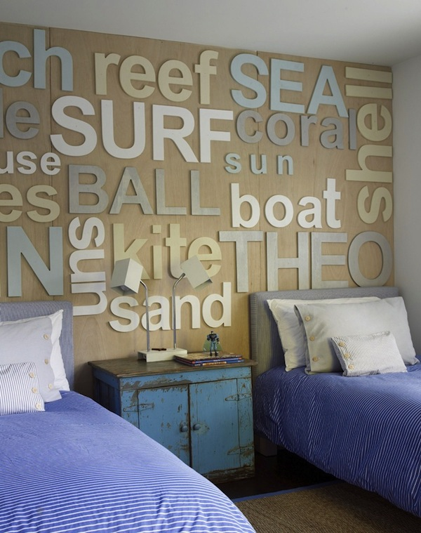 beach theme kids room with coastal design and beautiful headboard