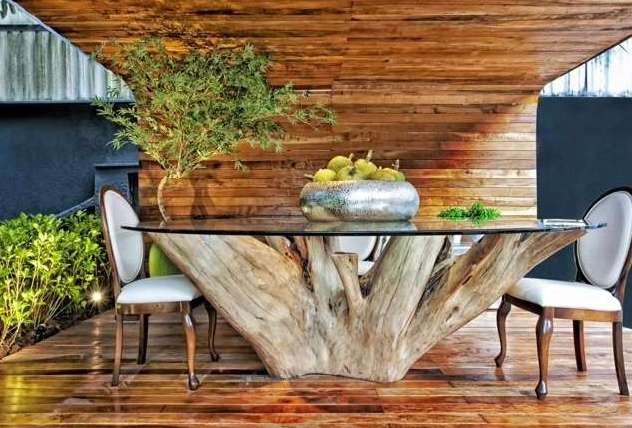 beautiful tree standing dining table with awesome wooden flooring