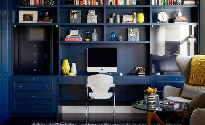 built-in library wall for the modern home office
