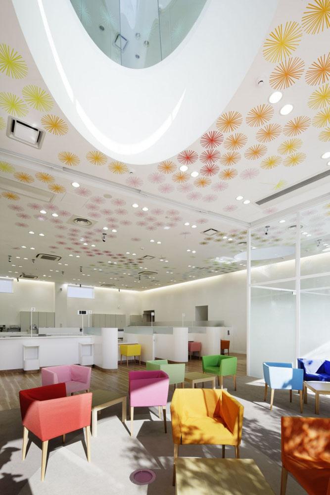 colorful Sugamo Shinkin Bank design interior