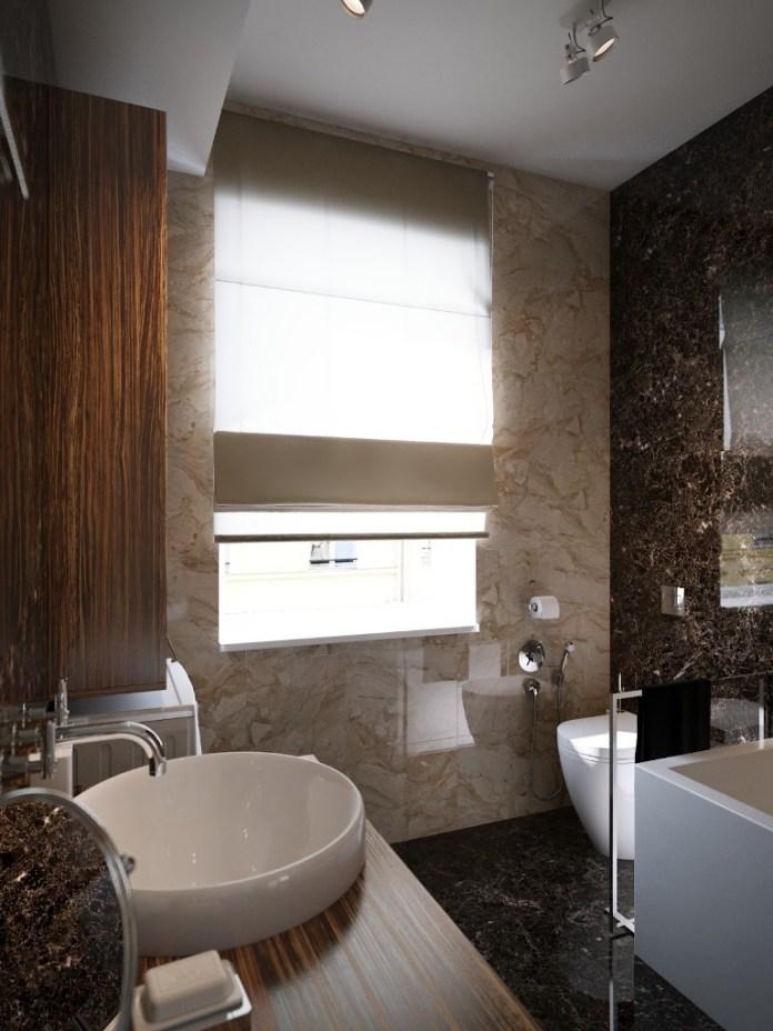 dark granite covered bathroom