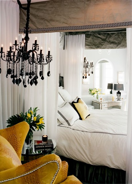 eclectic-bedroom with all white and yellow furniture