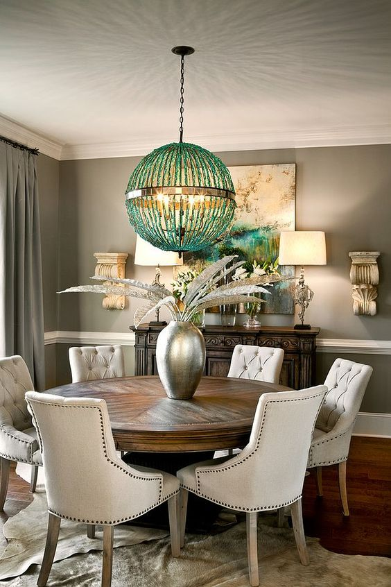 grey traditional dining room