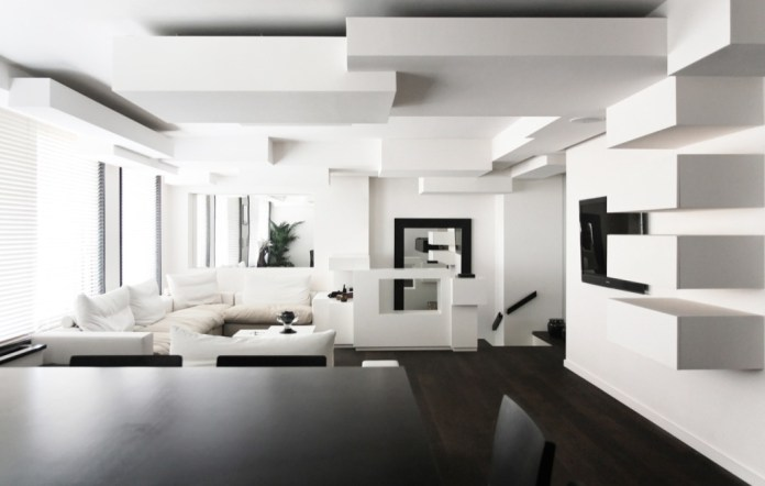 outstanding-design-stylish-black-and-white-home-interior-raised-textured-modern-wall