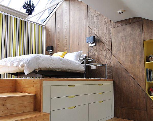 Creative loft bedroom design for a bachelor