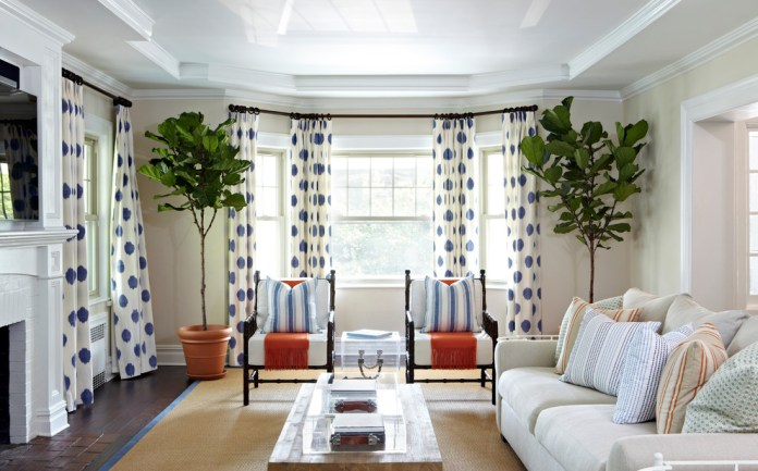 Drapery Styles Living Room Beach With Polka Dot Curtains Ceiling Design