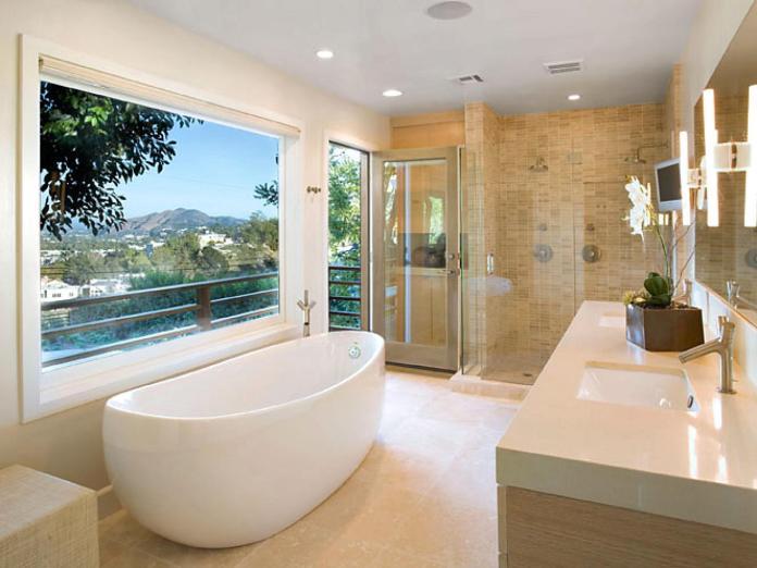 Neutral Bathroom With Ceramic Tile Floor