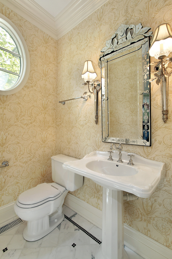Powder room with sconces