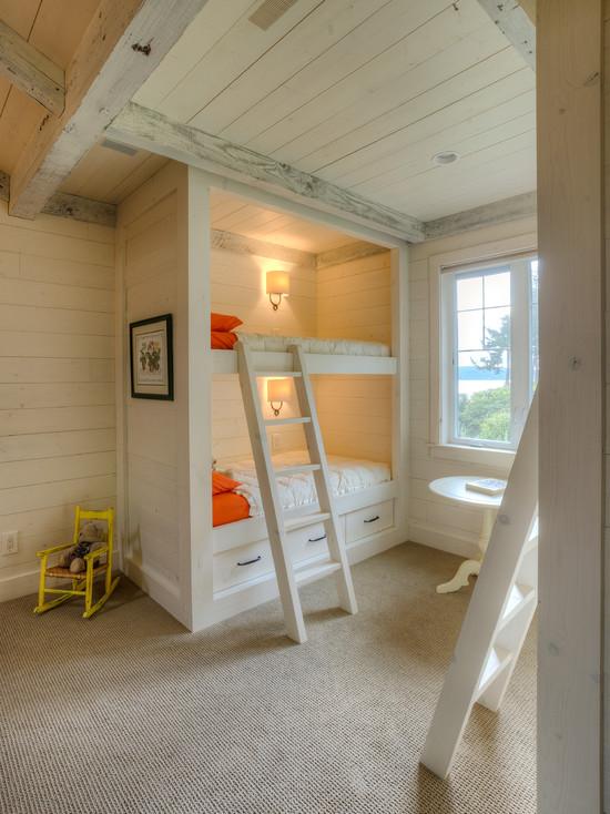 Rustic Kids Room In Elegant White Bunk Bed