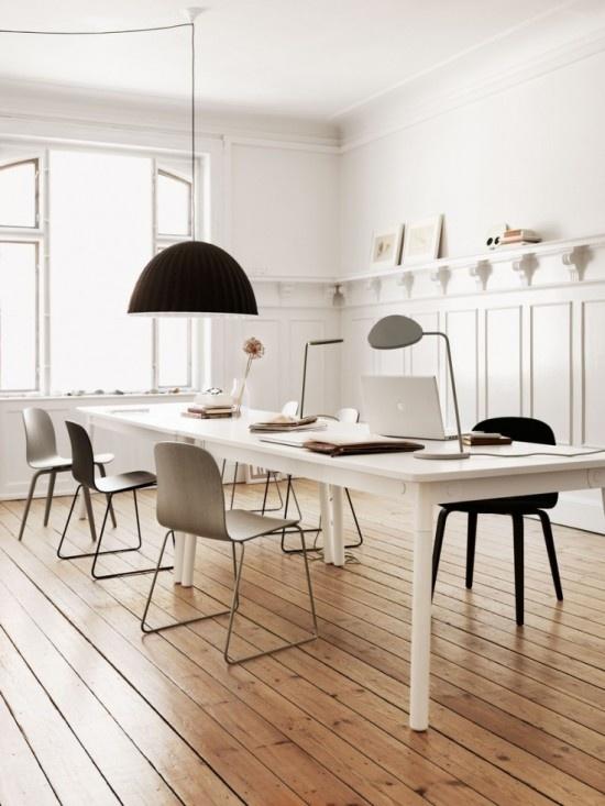 White Scandinavian dining room