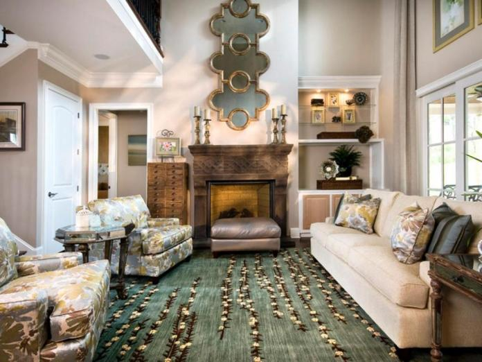 living room with big rug
