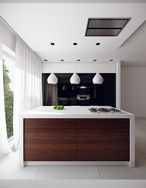 smallish contemporary kitchen with island bar