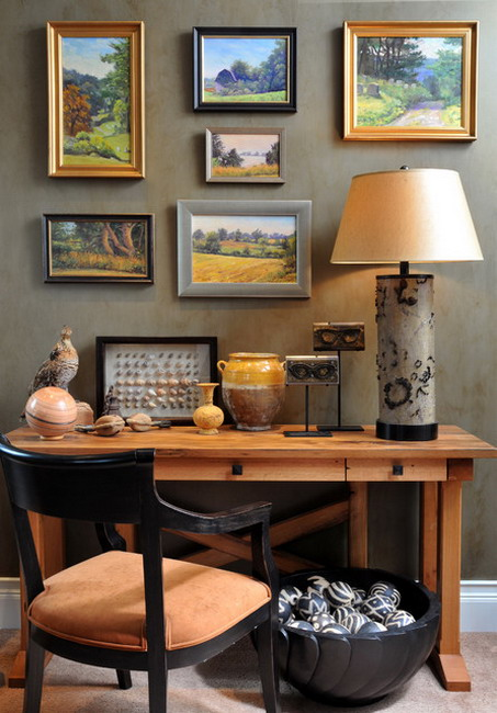 Eclectic Home Office Design Ideas with Beautiful Scenery Wall Art Pictures and Wood Table