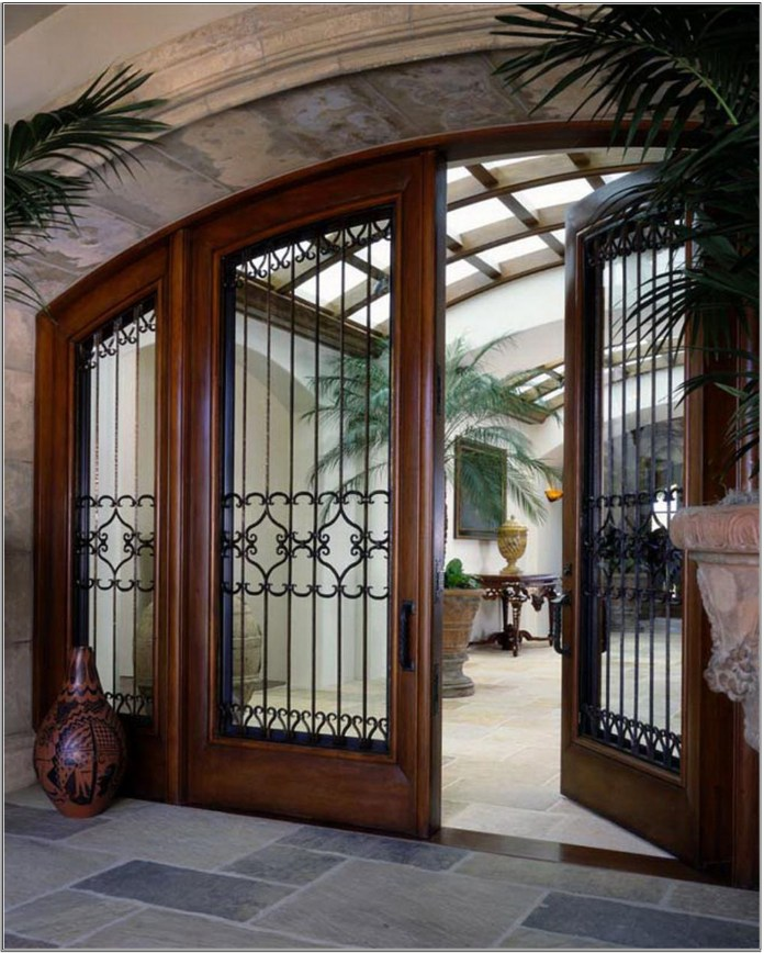 Entry Doors Design Ideas With Wide Curtain Window And Nice Iron Carving Modern Entry Doors