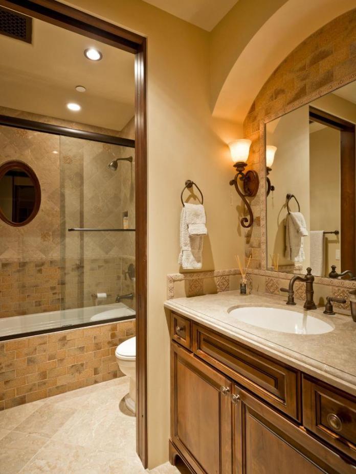 Mediterranean Bathroom with Tilework