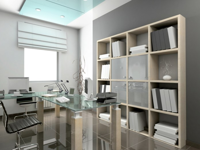 Modern home office in grey color design with glass topped-desk