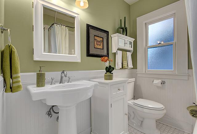 Staged Craftsman bathroom