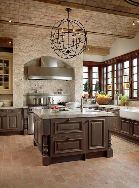 Traditional Kitchen With Brick Walls