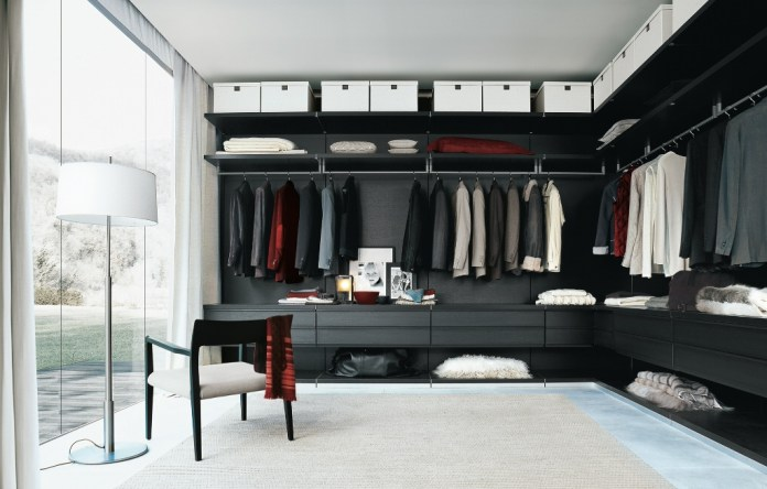 furniture-black-wooden-closet-with-white-storage-on-the-top-and-stainless-steel-cloth-hooks-added-by-white-floor-lamp