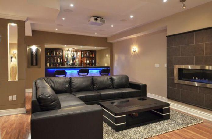 modern-basement-with-sleek-black-sofa