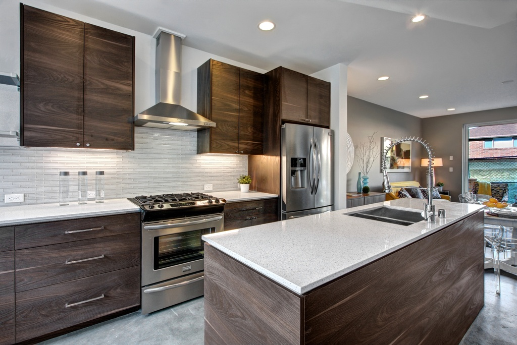 Contemporary Kitchen with flush light