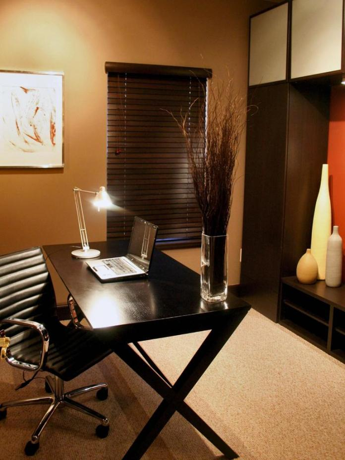 Contemporary Neutral Home Office With Asian Flair