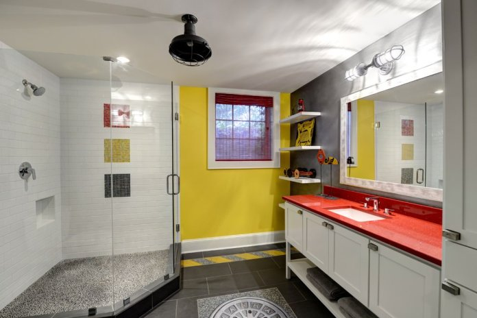 Eclectic basement bathroom design