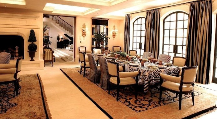 Mediterranean Dining Room with Box ceiling & Skylight