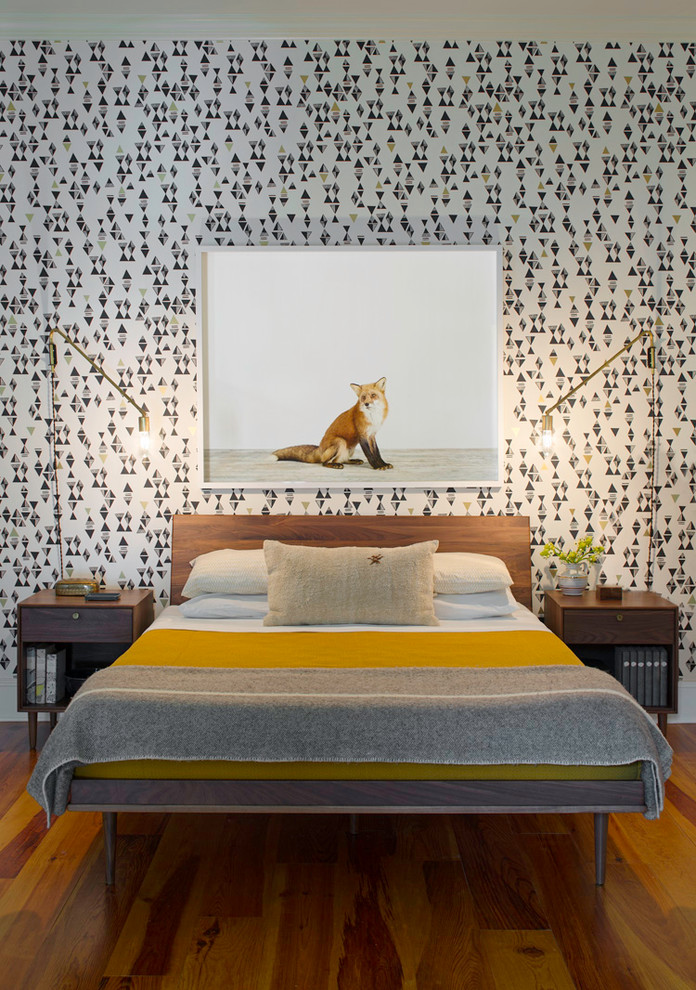 Mid Century Bed Bedroom Contemporary with Brass Wall Sconce Exposed