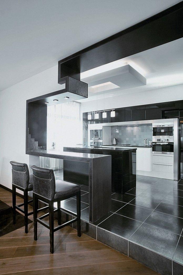 Wonderful White Black Wood Glass Unique Design
