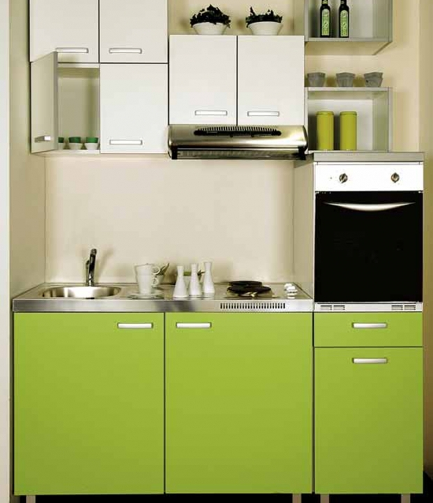 Interior Design Kitchen Small Space Modern Green Colours - Small Room Decorating Ideas