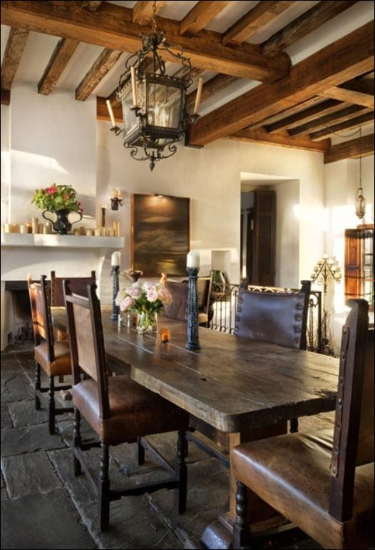 mediterranean-dining-room-apply-vintage-stone-flooring-plus-ancient-dining-table-and-antique-chairs