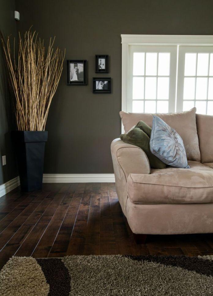 Living Room With Hardwood Floor & Green Walls