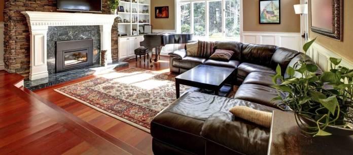 Luxury Living Room With Cherry Wood Flooring