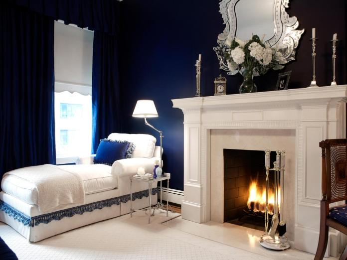 Traditional Bedroom With Navy Blue Paint