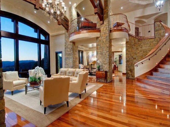 Twostory Living Room With High Gloss Hardwood Flooring