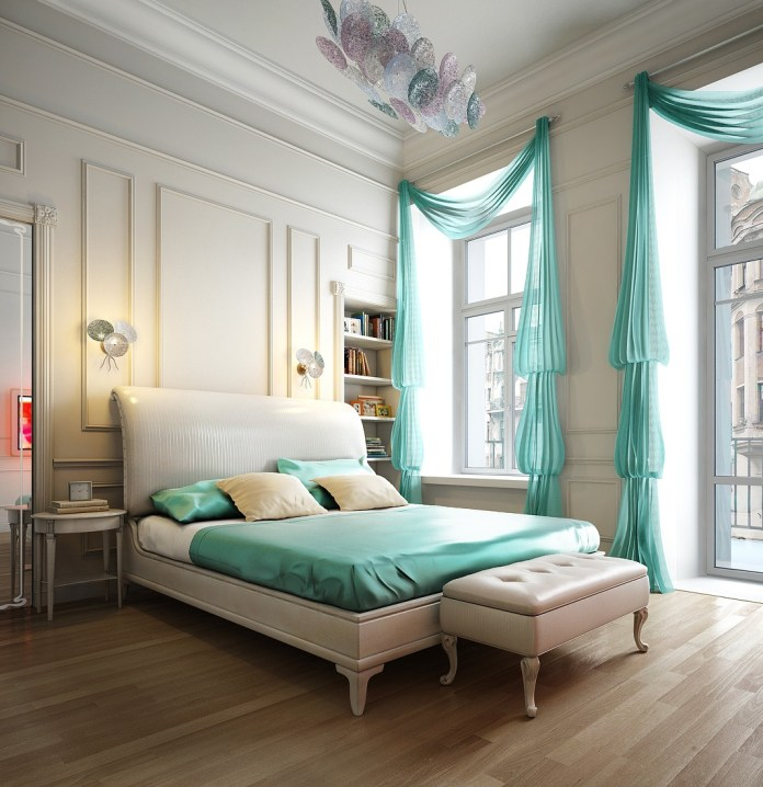 Beautiful Bedroom With Unique Window Treatment