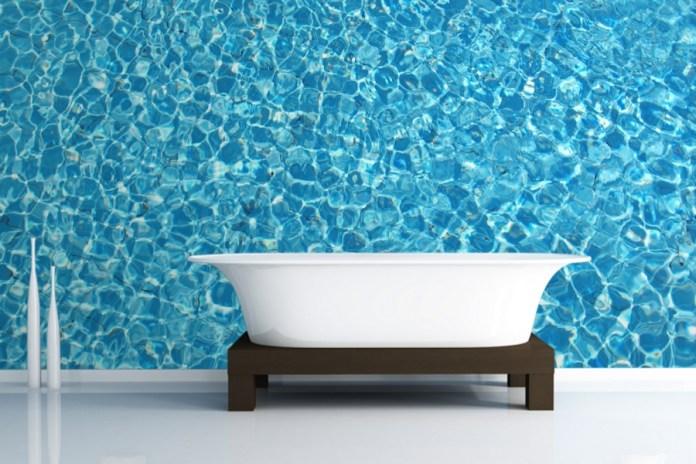 Crystal Aqua Theme Bathroom Wallpaper